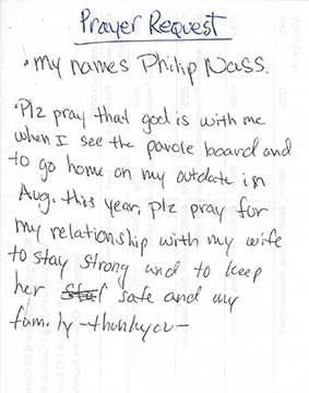 Hand written inmate prayer request